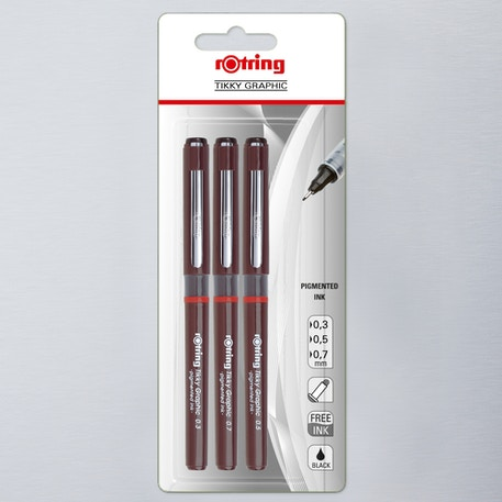 Rotring Tikky Graphic 0.3 to 0.7mm Set of 3 Black | Cass Art