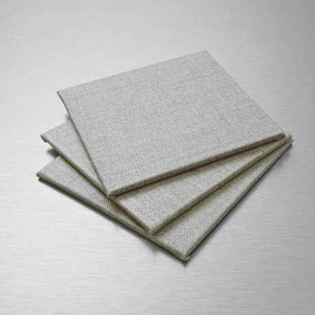 Pebeo Natural Linen Canvas Board 10 x 10cm Set of 3 | Cass Art
