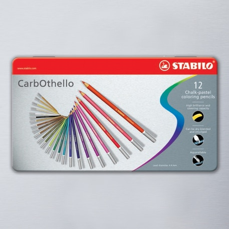 Stabilo CarbOthello in Metal Tin Set of 12 Assorted Colours | Cass Art