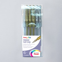 Pentel Hybrid Gel Grip Wallet Gold & Silver Set of 6 Assorted Colours