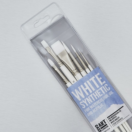 White Synthetic Brushes Set of 6 | Professional Brushes | Cass Art