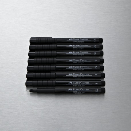 Faber-Castell Pitt Artist Pen Set of 8 Black | Cass Art