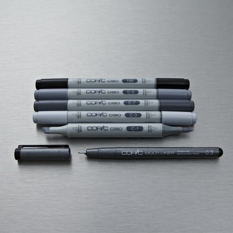 Copic Ciao Markers Grey Tones Pack of 6    Cass Art