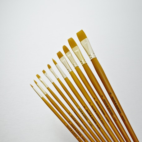 Daler Rowney Simply Gold Taklon Long Handle Brush Set of 10 | Great Value Brushes | Cass Art