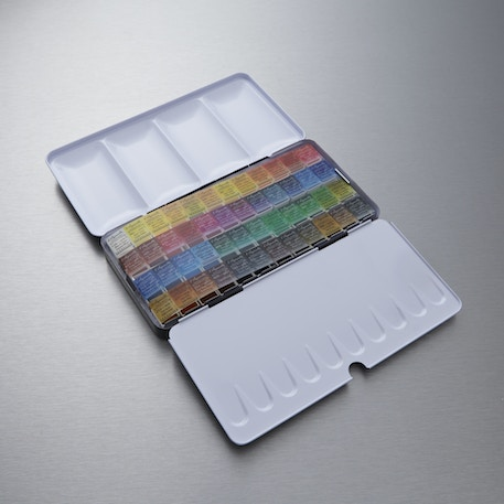 Sennelier Watercolour Metal Box Half Pan Classic Set of 48 | Professional Watercolours | Cass Art