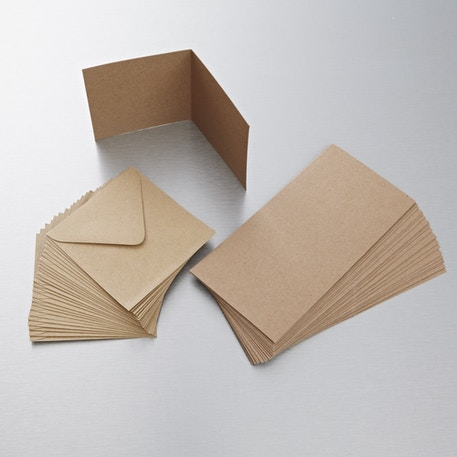 Papermania Kraft Cards and Envelopes 4 x 4 inches Natural Pack of 25 | Cass Art