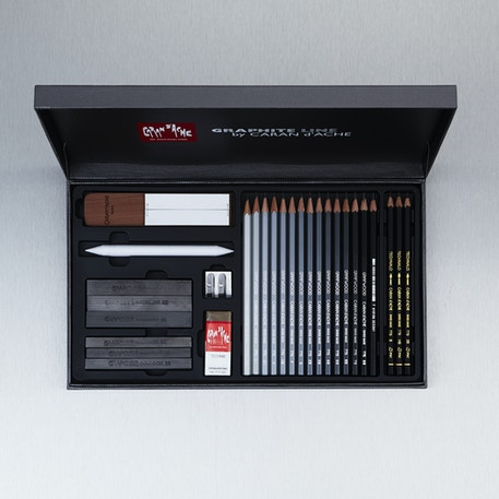 Caran D'ache Graphite Line Satin Gift Box Black Set | Cass Art