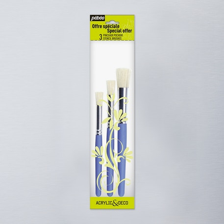 Pebeo Short Handled Stencil Brushes Wallet Set of 3 | Cass Art