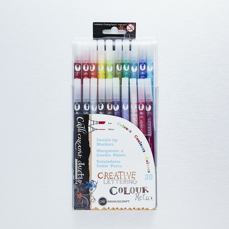 Manuscript Double Tip Marker Pens Set of 20 | Cass Art