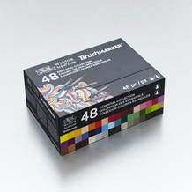 Winsor & Newton Brush Marker Essential Collection Set of 48