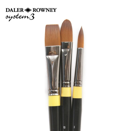 Daler Rowney System 3 302 Acrylic Brush Wallet Set of 3 | Cass Art