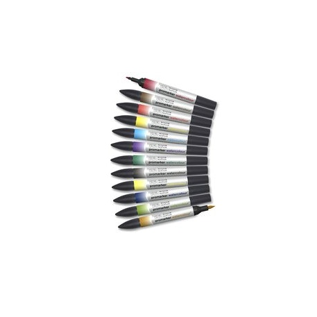 Winsor & Newton Promarker Watercolour Assorted Colours Set of 12 | Cass Art