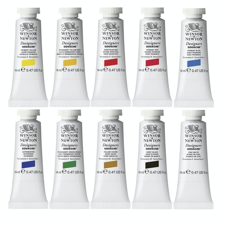 Winsor & Newton Designers Gouache Opaque Introduction Set of 10 14ml