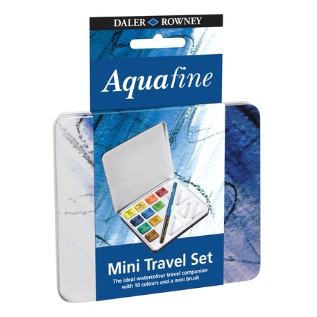Daler Rowney Aquafine Mini Half Pan Set With Brush Set of 10 | Cass Art