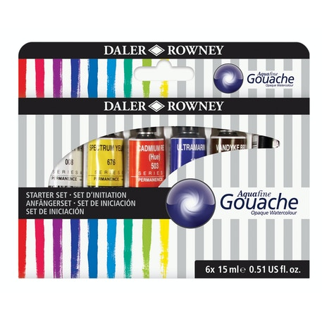 Daler Rowney Aquafine Gouache Starter Set of 6 x 15ml | Cass Art