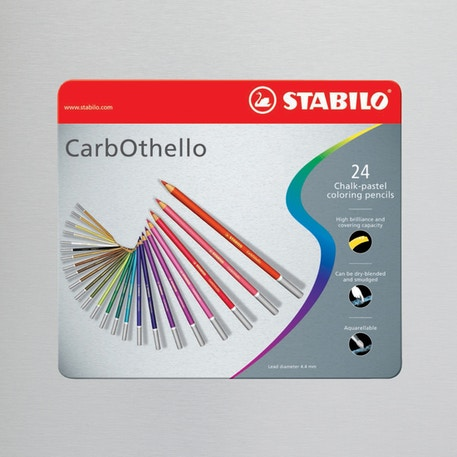 Stabilo CarbOthello in Metal Tin Set of 24 Assorted Colours | Cass Art