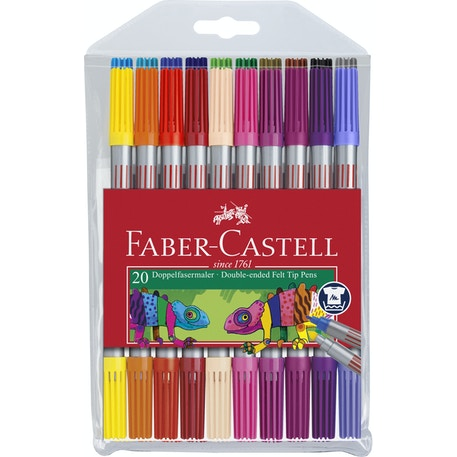 Faber Castell Double Ended Fibre Tip Marker Assorted Colours Set of 20 | Cass Art