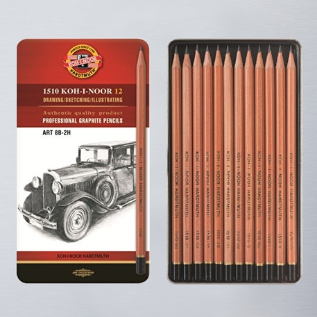 Koh-i-noor Graphite Pencils 8B-2H Set of 12 | Cass Art