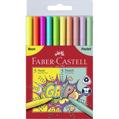 Faber Castell Grip Marker Neon & Pastel Colours Set of 10