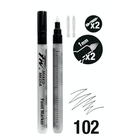 Daler Rowney FW Small Hard Point Empty Markers + 2 Nibs 1mm Set of 2 | Cass Art