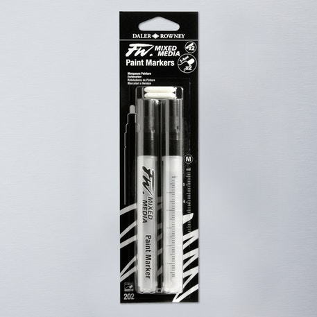 Daler Rowney FW Medium Round Empty Markers + 2 Nibs 2-4mm Set of 2 | Cass Art