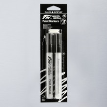 Daler Rowney FW Medium Round Empty Markers + 2 Nibs 2-4mm Set of 2