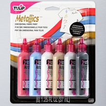 Tulip 3D Metallic Fabric Paint 37ml Assorted Colours Set of 6