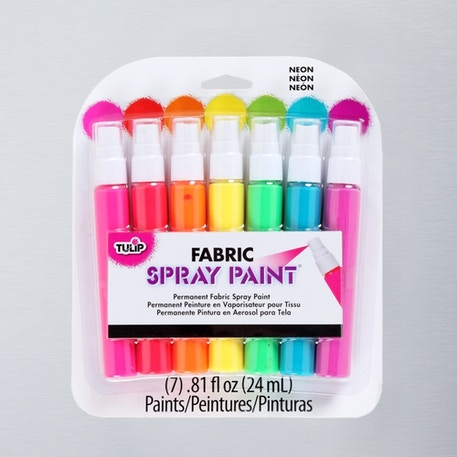 Tulip Fabric Spray Paint Neon 24ml Assorted Colours Pack of 7 | Cass Art