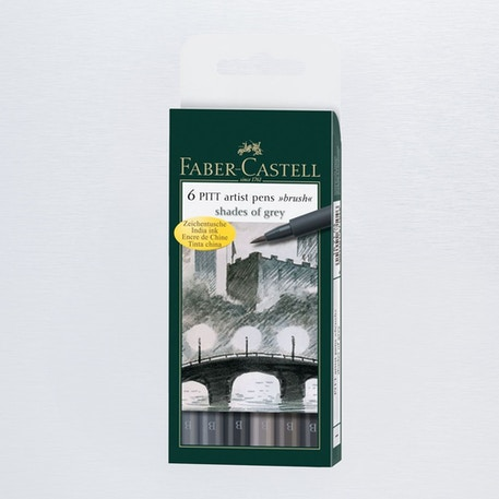 Faber-Castell Pitt Artists' Brush Pen Wallet Set of 6 Grey | Cass Art