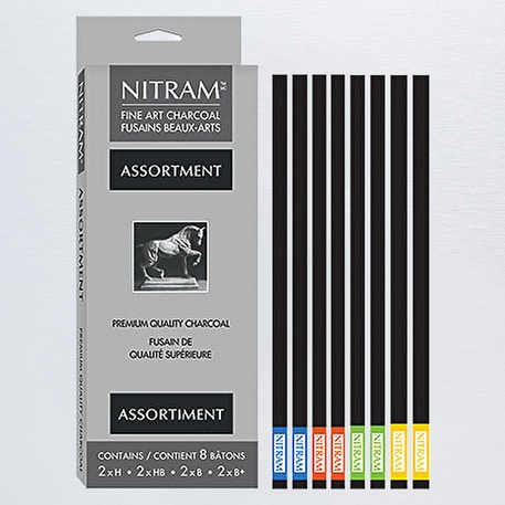 Nitram Batons Moyens Assorted Charcoals Pack of 8 | Cass Art