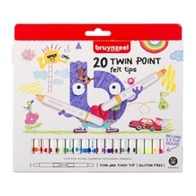 Bruynzeel Felt Tip Twin Point Pens Assorted Colours Set of 20