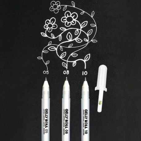 Sakura Gelly Roll Gel Pen Classic White Mixed Set of 3 | Cass Art