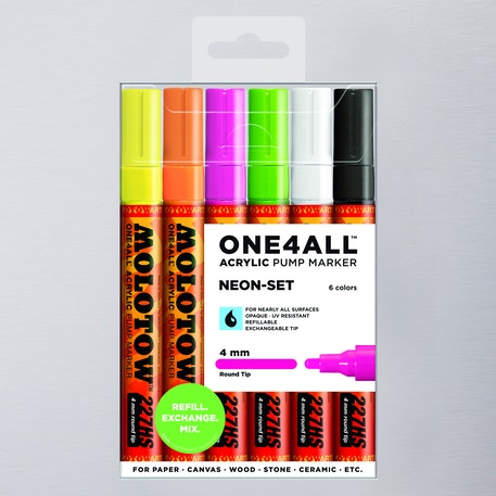 Molotow ONE4ALL 227HS Acrylic Pump Marker Neon Set Round Nib 4mm Set of 6 | Cass Art