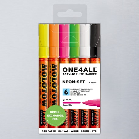 Molotow ONE4ALL Acrylic Pump Marker Neon Set Round Nib 2mm Set of 6 | Cass Art