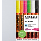 Molotow ONE4ALL Acrylic Pump Marker Neon Set Round Nib 2mm Set of 6