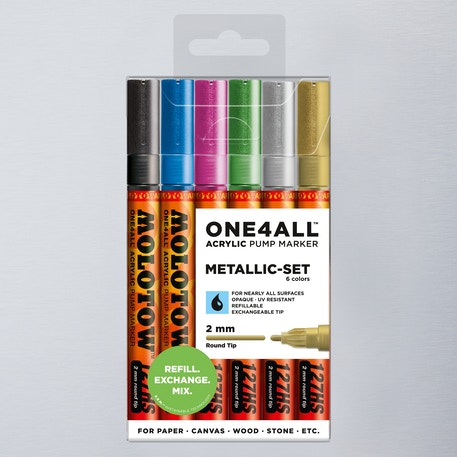 Molotow ONE4ALL 127HS Acrylic Pump Marker Metallic Set Round Nib 2mm Set of 6 | Cass Art