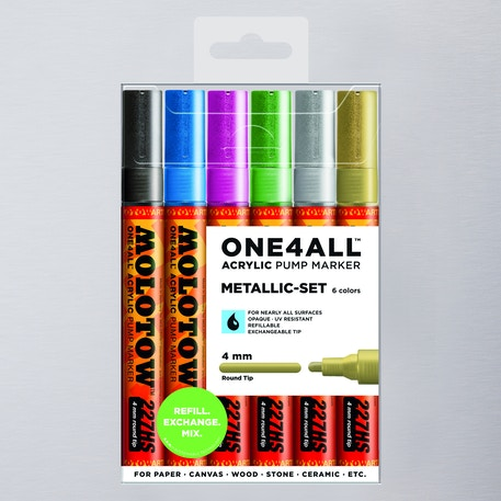 Molotow ONE4ALL Acrylic Pump Marker Metallic Set Round Nib 4mm Set of 6 | Cass Art