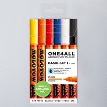 Molotow ONE4ALL Acrylic Pump Marker Basic Set 1 Round Nib 2mm Set of 6