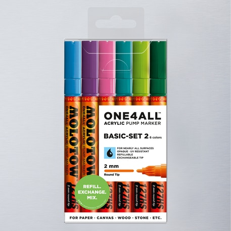 Molotow ONE4ALL Acrylic Pump Marker Basic Set 2 Round Nib 2mm Set of 6 | Cass Art