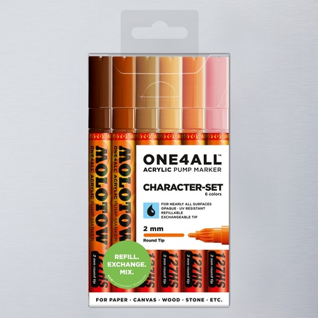 Molotow ONE4ALL  Acrylic Pump Marker Character Set Round Nib 2mm Set of 6 | Cass Art