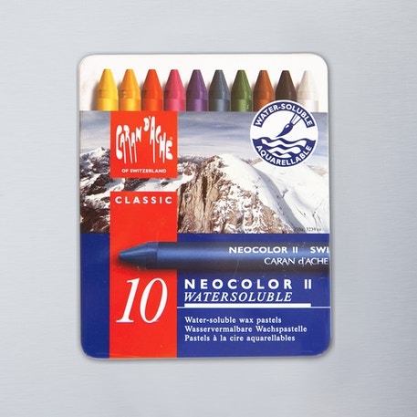 Caran D'ache Neocolor II Aquarelle Wax Pastels Tin Set of 10 | Cass Art