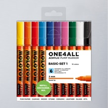 Molotow ONE4ALL Acrylic Pump Marker Basic Set 1 Round Nib 2mm Set of 10