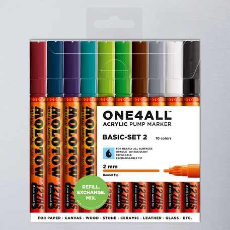 Molotow ONE4ALL Acrylic Pump Marker Basic Set 2 Round Nib 2mm Set of 10 | Cass Art