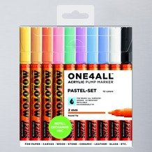 Molotow ONE4ALL Acrylic Pump Marker Pastel Set Round Nib 2mm Set of 10