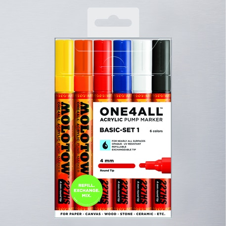 Molotow ONE4ALL Acrylic Pump Marker Basic Set 1 Round Nib 4mm Set of 6 | Cass Art