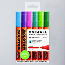 Molotow ONE4ALL Acrylic Pump Marker Basic Set 2 Round Nib 4mm Set of 6