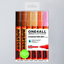 Molotow ONE4ALL Acrylic Pump Marker Character Set Round Nib 4mm Set of 6