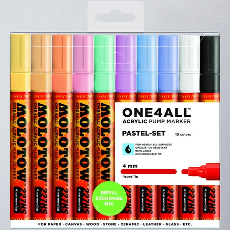 Molotow ONE4ALL Acrylic Pump Marker Pastel Set Round Nib 4mm Set of 10 | Cass Art