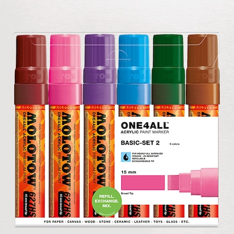 Molotow ONE4ALL Acrylic Marker Basic Set 2 Broad Nib 15mm Set of 6 | Cass Art
