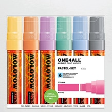 Molotow ONE4ALL Acrylic Marker Pastel Set Broad Nib 15mm Set of 6
